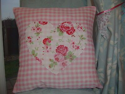 "Cath Kidston 'Rosali' Heart on Pink Gingham 16"" Handmade Vintage Cushion Cover"