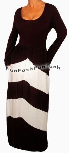 DW2 FUNFASH BLACK WHITE CHEVRON LONG SLEEVES MAXI DRESS WOMEN Plus Size 1X 18 20
