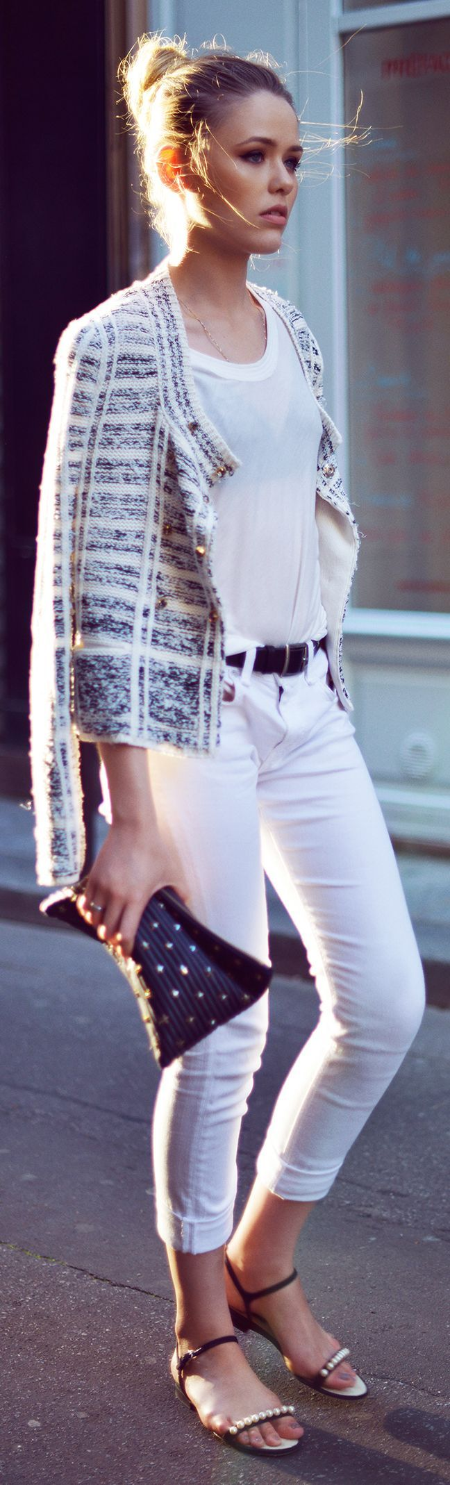 A nice casual style for a relaxed day on the town. Sonya Rykiel Black And White Patterned Boucle Jacket by Kayture