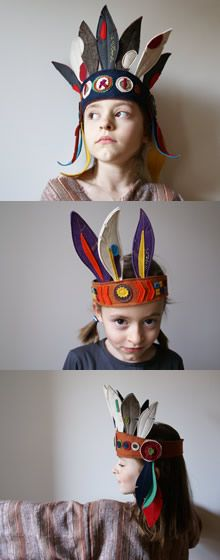 ateliersreinette: indians felt feather wargear Native American headdressso awesome for kids party bday