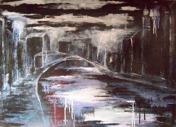 """"""" Le Guglie, notturno. Acqua alta. 2010 . Smalti e acrilici su tavola, cm 50,5 x 70,5."""