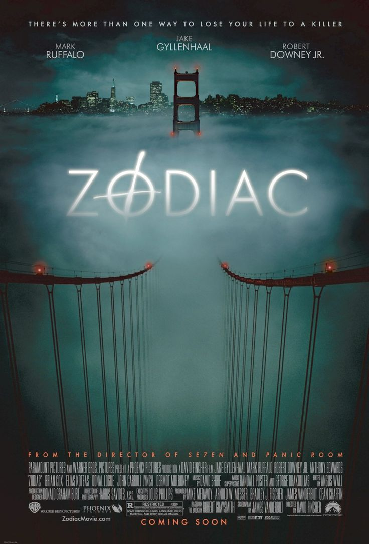 Zodiac (2007)  Director: David Fincher Writers: James Vanderbilt (screenplay), Robert Graysmith (book)
