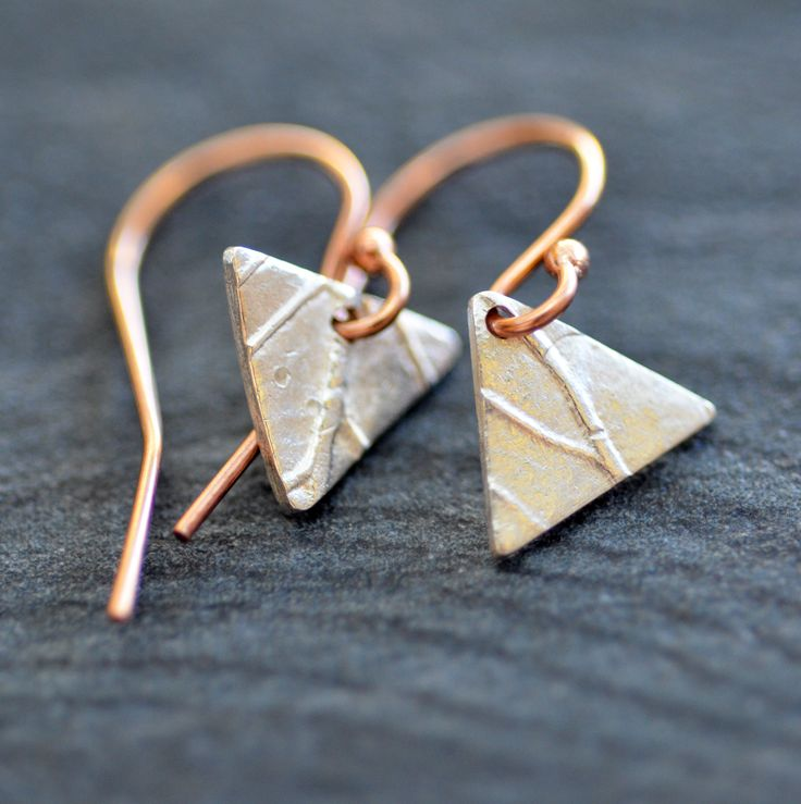 Silver and Rose Gold-fill asymmetrical earrings by Luminous Design Store