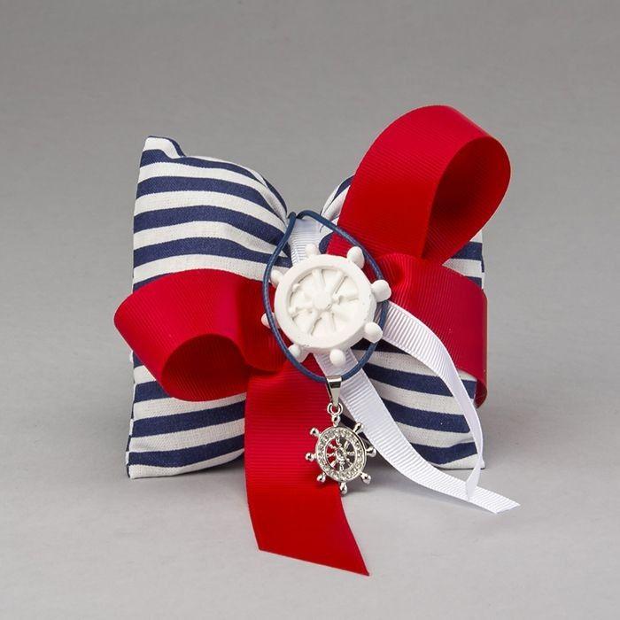 Collana timone in acciaio con strass completa di cuscino in cotone | Bomboniere per Comunione