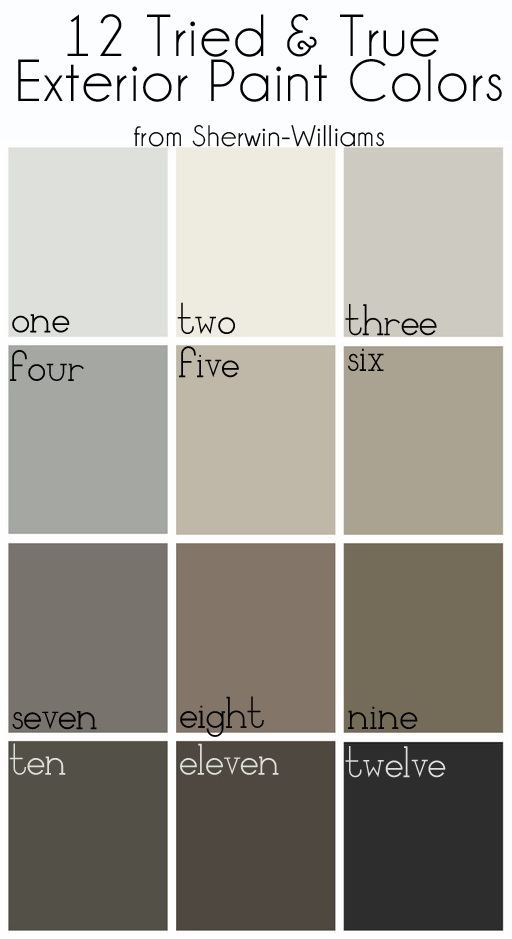 Exterior Paint Colors: One: Nebulous White Two: Alabaster Three: Repose Gray Four: Gray Matters Five: Amazing Gray Six: Intellectual Gray Seven: Gauntlet Gray Eight: Foothills Nine: Brainstorm Bronze Ten: Urbane Bronze Eleven: Black Fox Twelve: Tricorn Black