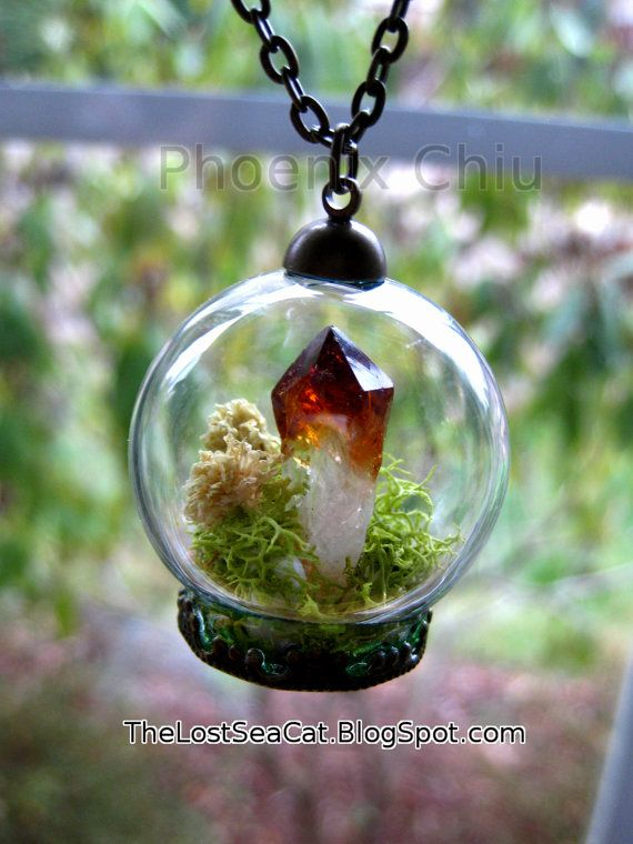 Terrarium necklace Raw Citrine pendant Crystal by phoenixchiu