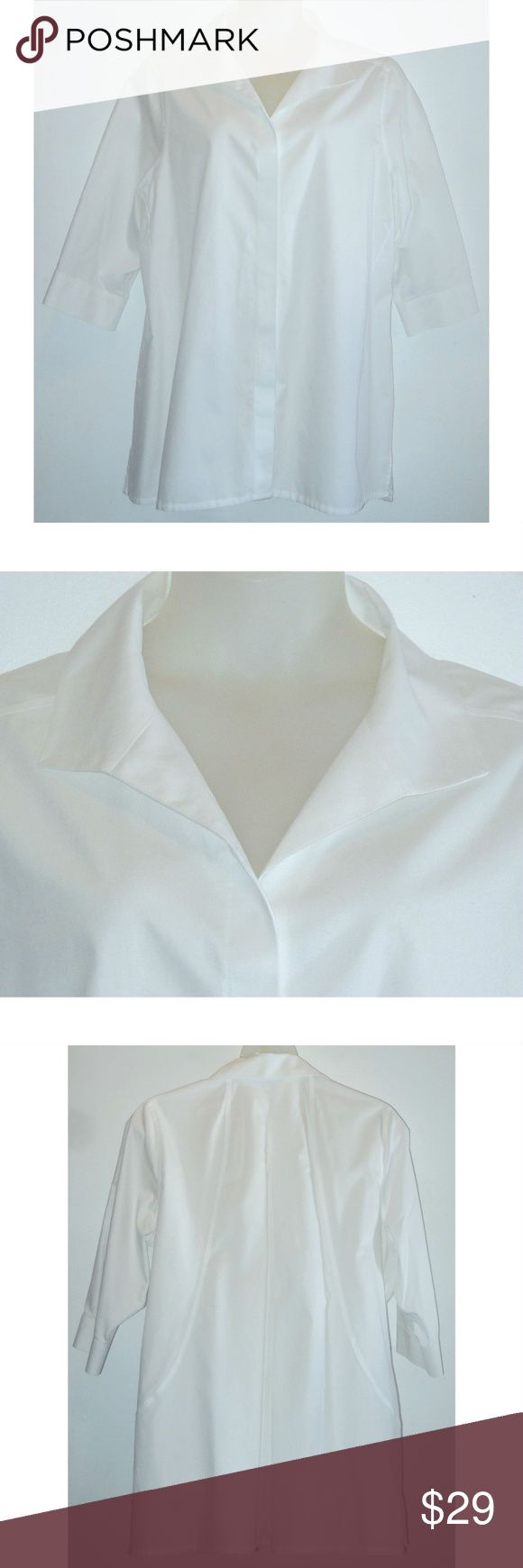 """FOXCROFT White Tunic 20W Cotton Non Iron Shirt Tunic length shirt from Foxcroft in white non iron cotton.  Features:  Winged collar hidden button front 3/4 length sleeves 3.5"""" side vents  Measurements: Size 20W Bust 54"""" Length 33"""" back neck to hem All Measurements Are Approximate  Measurements Taken Flat & Unstretched Item Specifics: 100% Cotton Machine Wash In Excellent Condition With No Flaws Noted Foxcroft Tops Tunics"""