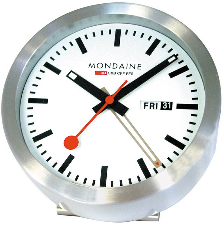 This chic and modern desk clock is a miniature version of the famous Mondaine Swiss Railway clock.