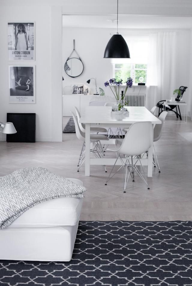 Black and White interior. Scandinavian Design.