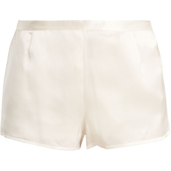 La Perla Silk-satin pyjama shorts featuring polyvore, women's fashion, clothing, intimates, shorts, lingerie, sleepwear, ivory, la perla, ivory lingerie and la perla lingerie