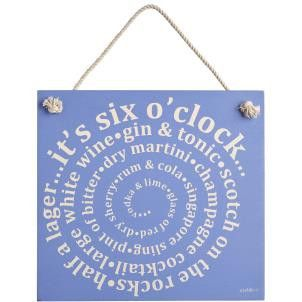 Zed & Co Wooden Sign 'Six O'Clock' - Amour Decor - 1