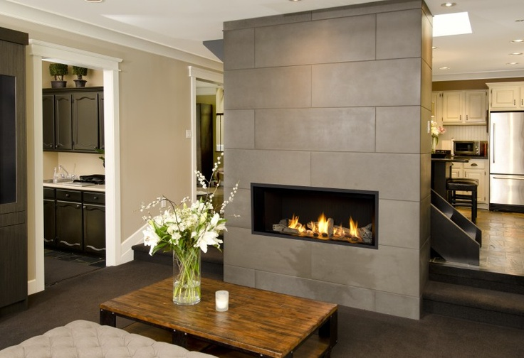 Solus 9 x 48 large tile contemporary Concrete Fire