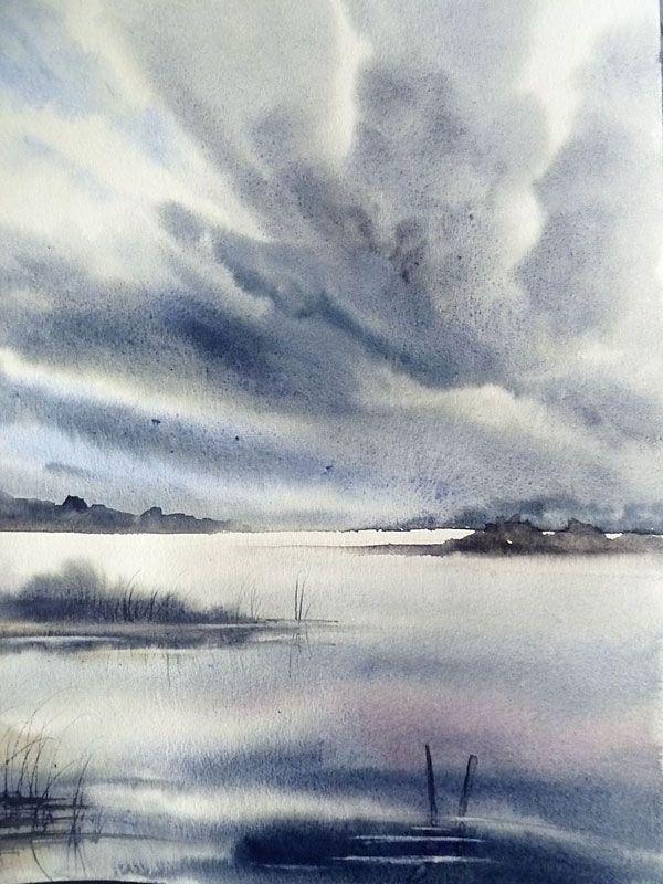 Oragesurlac30x40 Wasserfarben Landschaften Aquarellmalerei Und