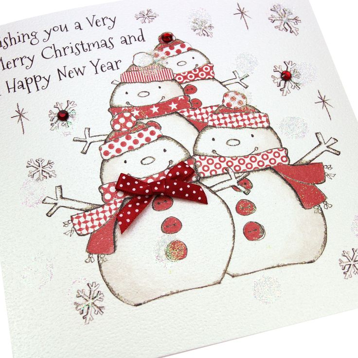 Handmade Christmas Card Snowmen Glitter Luxury Embossed Red Polka Dot Bow Gems Snowmen - 'Merry Christmas and a Happy New Year'