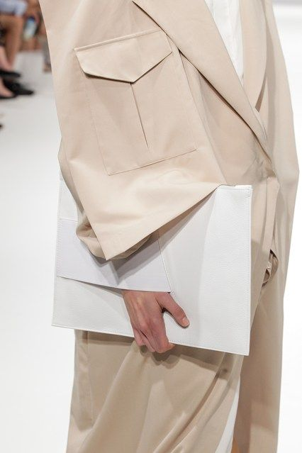 This Spring 2015 outfit brings back the boxy suit look from the 90s. Many outfits were very androgynous for both men and women. Neutral colors were also popular.