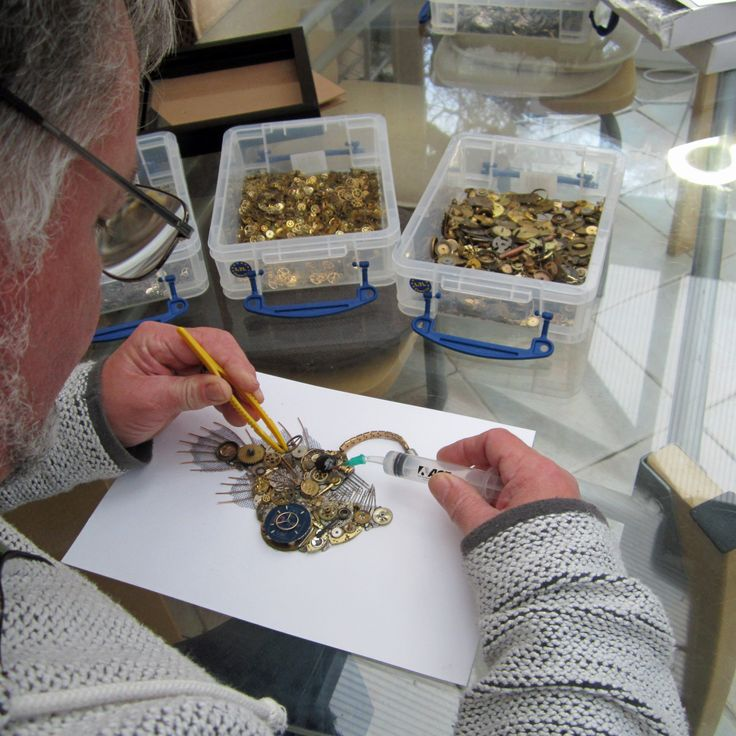 Neil working on Stoptick art angler fish picture