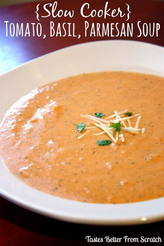 {Slow Cooker} Creamy Tomato. Basil. Parmesan Soup Recipe ~ Says: This soup slowly cooks in the slow cooker for hours which allows all of the flavors to blend together really nicely. It's also super yummy served the next day if you want to make it in advance or have some yummy leftovers in your fridge!
