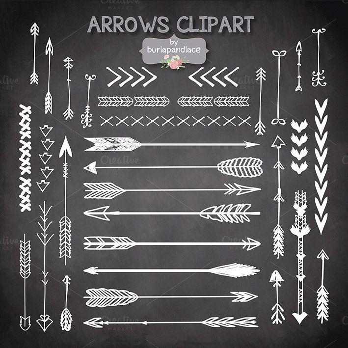 VECTOR Hand Drawn clipart arrows by burlapandlace on Creative Market