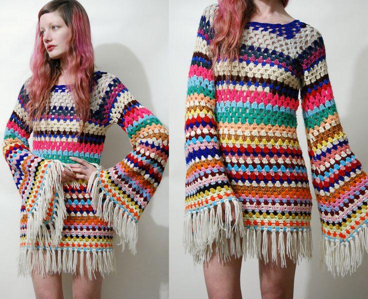 CROCHET vestido colorido raya abuela Plaza Flare por cruxandcrow