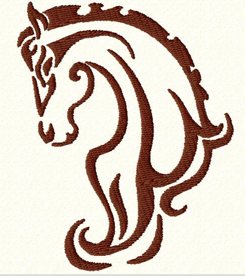 TRIBAL HORSE HEAD  Machine Embroidery Design  2 Sizes