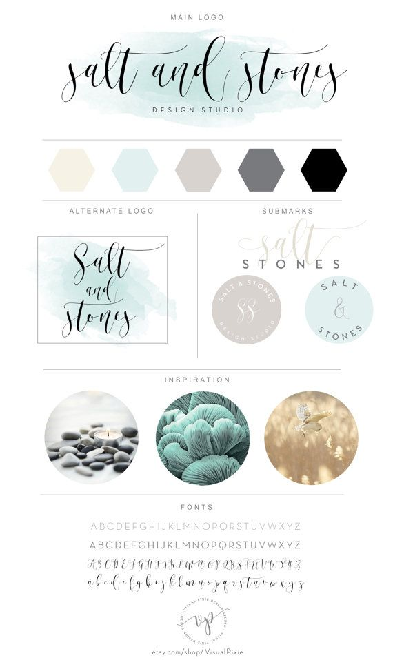 Branding Package - Mint Watercolor Calligraphic Minimalist Logo Design - Modern Photography Logo Watermark - Fashion Boutique Branding Kit