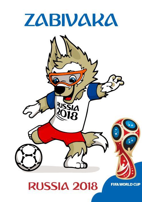 Zabivaka Mascota de Rusia 1018 Chutando, en vector e imagen normal.