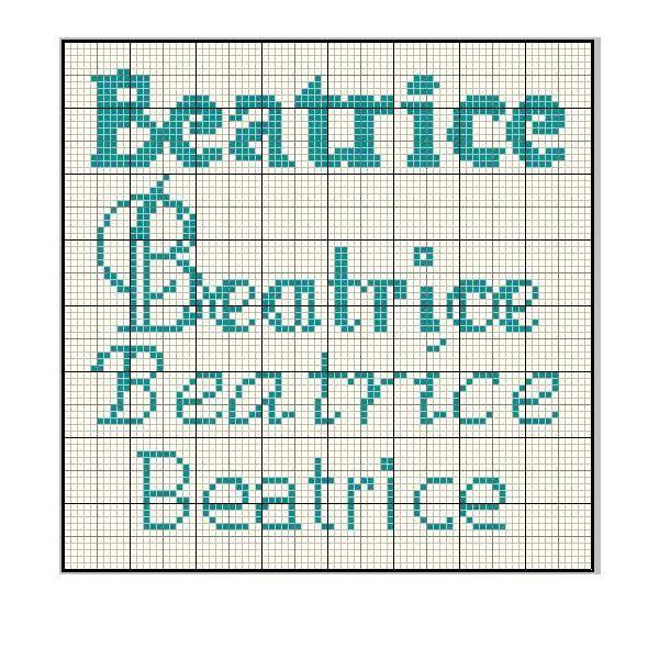 schema nomi Beatrice a punto croce