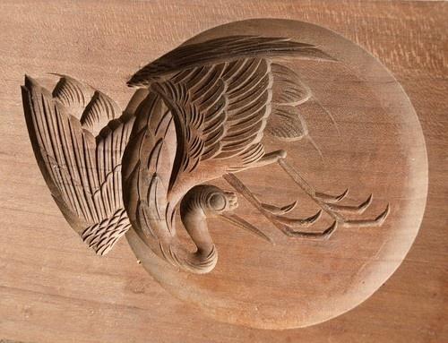 Japanese Antique Kashigata Crane with Cover Hand Carved Wooden Cake Mold | eBay