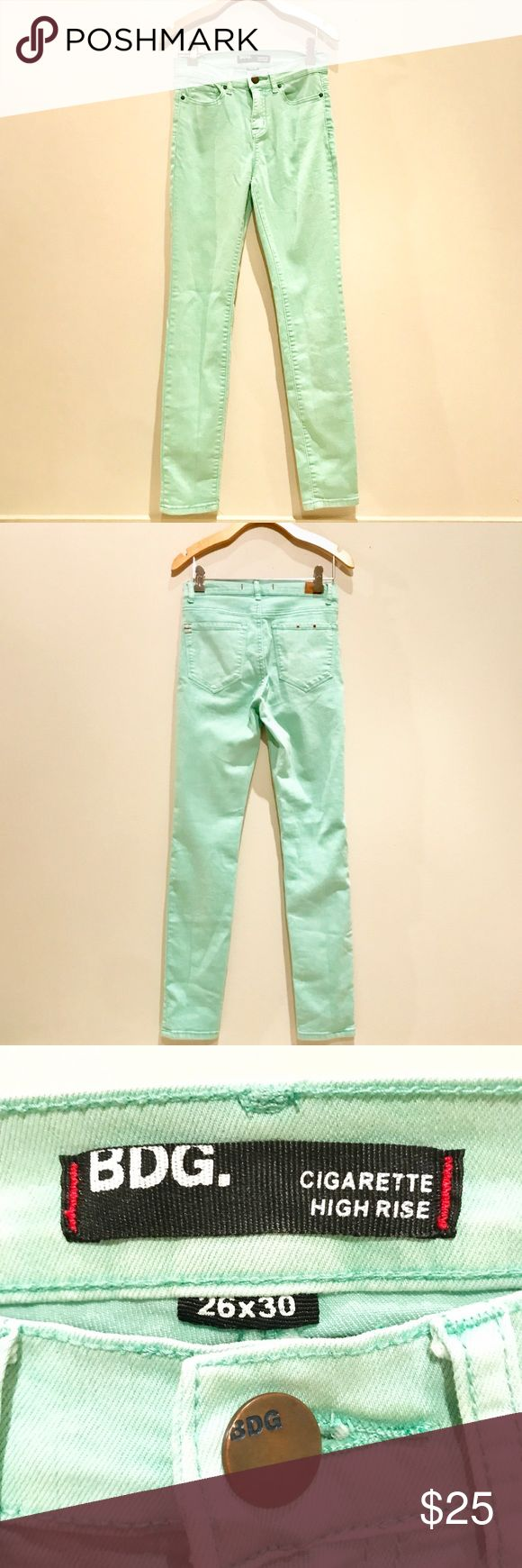 """BDG Cigarette High Rise Mint Jeans Mint green BDG cigarette high rise jeans. Size- Women's 26. Flat Measurements- 13.5"""" waist, 9.5"""" rise 30"""" inseam. Material- 70% cotton 20% polyester 2% spandex. Excellent used condition, only worn a few times! Urban Outfitters Jeans"""