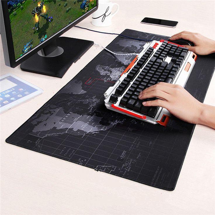 Mapa del mundo Mouse Pad 700x300mm/800x300mm/900x400mm Gran Tamaño velocidad Teclado Estera Computer Gaming Mousepad Estera de Tabla Borde de Bloqueo