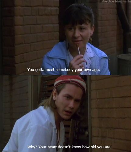 """River Phoenix as Devo and Tracey Ullman as Rosalie.  My favorite line of the whole movie (I Love You To Death)  Devo: """"Why? Your heart doesn't know how old you are.""""  (Jessica Ransford)"""