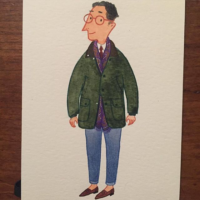 Casual Friday in #barbour Happy weekend! #fashionillustration #menswear #mensfashion #barbourjacket #weekend #drakes