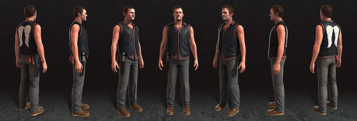 "Daryl Dixon from video game ""The Walking Dead: Survival Instinct"", Ian McIntosh on ArtStation at https://www.artstation.com/artwork/4bee1"