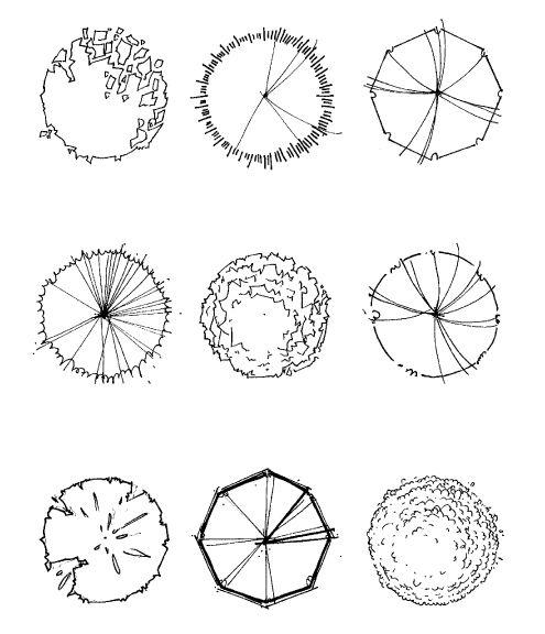 tree symbol in plan- drawing
