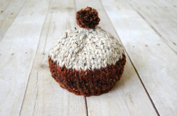 Winter Baby Toque Chestnut Oatmeal by purlandcompany on Etsy