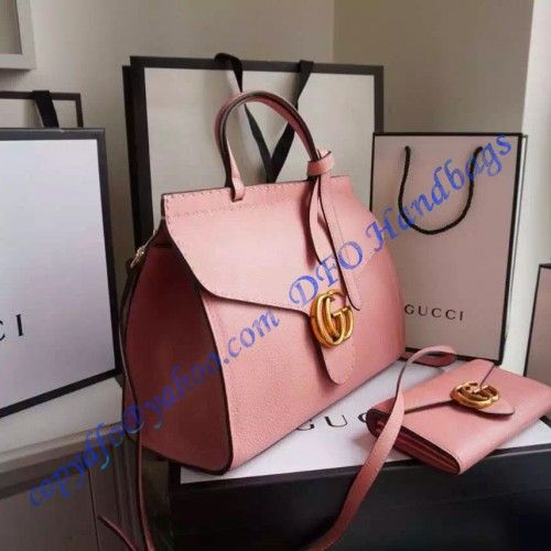 Gucci Small GG Marmont Leather Top Handle GU421890-pinkJeanine