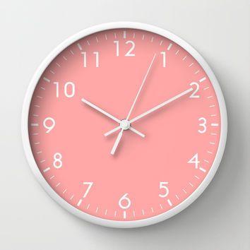 Coral Pink Wall Clock by BeautifulHomes | Society6