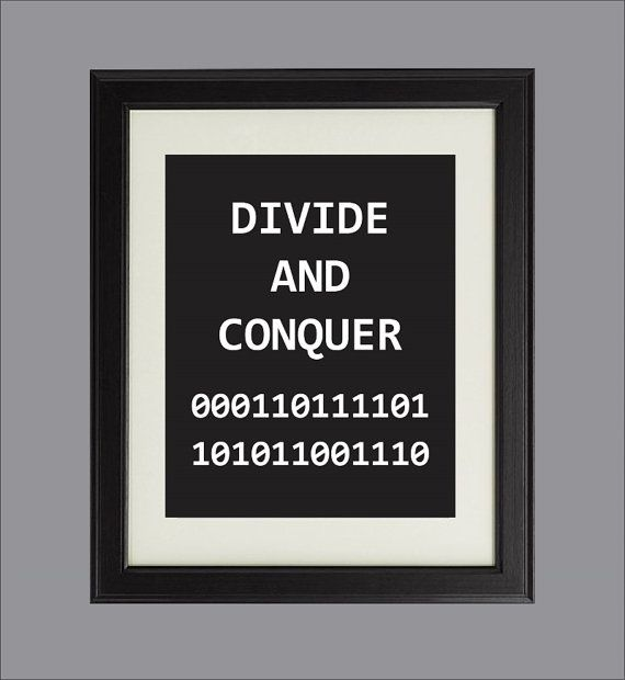 Items Similar To Divide And Conquer Digital Art Print For Geeks Office Wall  Decor, Binary Coding Algorithms Programming Computers On Etsy