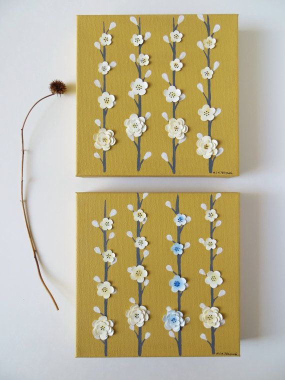 Original painting, acrylic painting, mixed media art, Scandinavian style, yellow blossoms, childrens wall art, - These pretty paintings feature a mustard acrylic background with tall, slender grey branches dotted with white buds. They have a modern, Scandinavian folk art design to them that is very clean and bright! I have added 16 original soft yellow waterblooms per painting that feature a beautiful golden highlight in the center. I then added a grey acrylic accent to each layer and bloom…