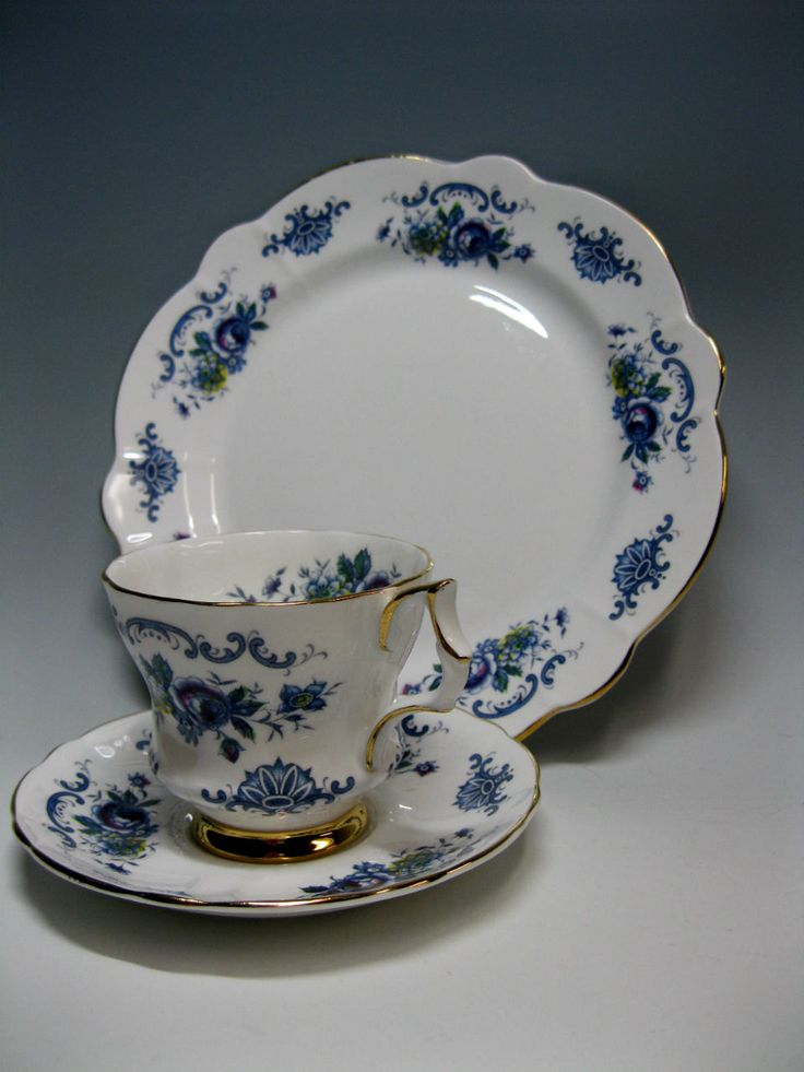Blue Floral Windsor English Bone China Cup/Saucer/Side Plate Set : tea cup saucer and plate set - pezcame.com