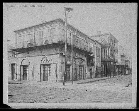 Original Absinthe House, Bourbon Street, New Orleans, Louisiana, 1890's. The Absinthe House was erected in 1798 and has been a place of revelry almost continuously ever since.