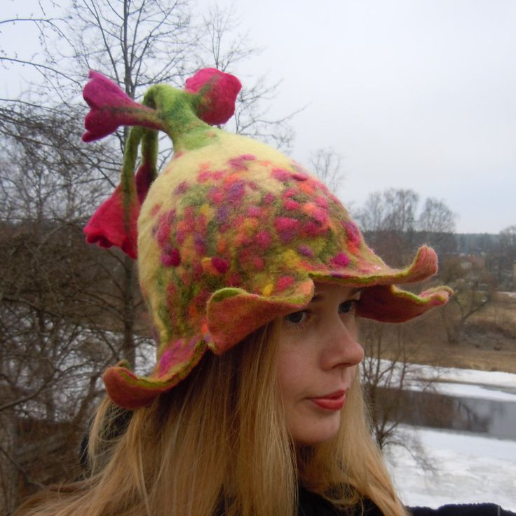 Beautiful bell shaped hat with pink and purple flowers. Flower hat. Hand made felt hat. Felted wool hat. by IevaDerFantasyWool on Etsy