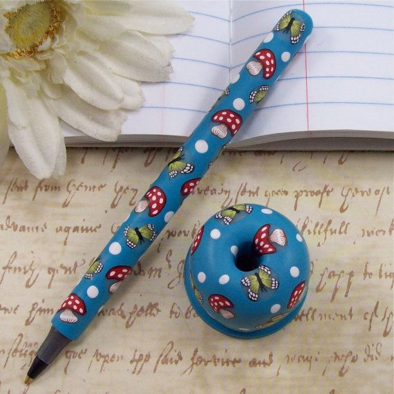 Handmade Polymer Clay Pen with Pen Holder  by by polymerclayshed, $10.99...can def do this @ home