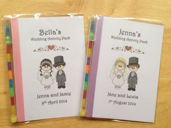 A6 Personalised Bride & Groom Childrens Kids Wedding Activity Pack Book Bag Ideal Gift or Favour for your younger guest