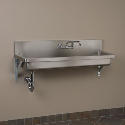 """Stainless Steel Single Well Wall Mount Commercial Sink - 35"""", 47"""", 59"""", 71"""":  choose 35"""" 35-1/2"""" L x 15"""" W (front to back) x 12"""" H (± 1/2"""")."""