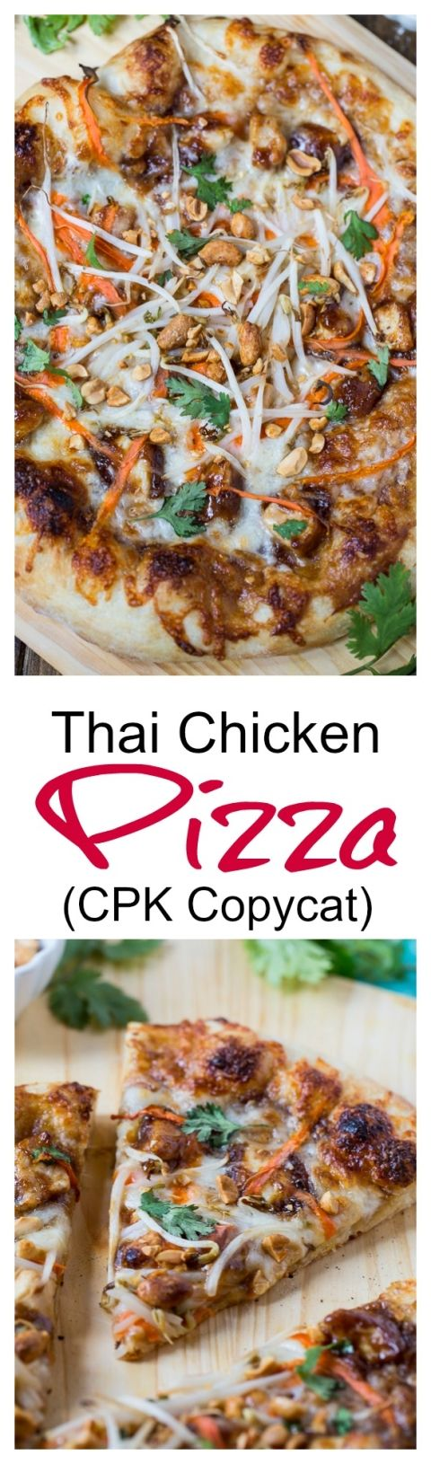 Thai Chicken Pizza (California Pizza Kitchen copycat); We give this a B-; too much sauce
