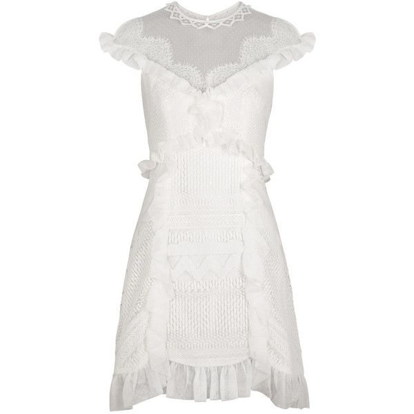 THREE FLOOR White Ruffle-trimmed Lace Dress ($475) ❤ liked on Polyvore featuring dresses, white ruffle dress, lace trim dress, white lace cocktail dress, white flounce dress and frilly dresses