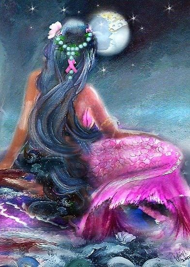 Mermaid  she has a breast cancer pink bow in her hair