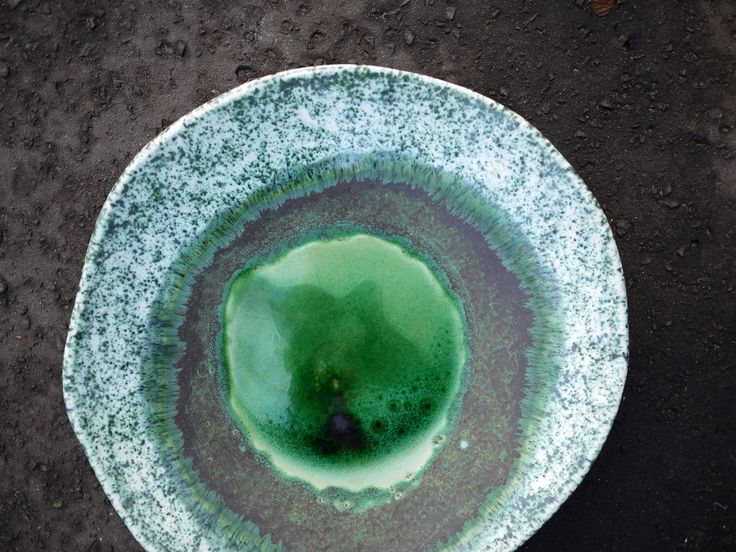 wetlands, handmade ceramic plate, emerald green, table decoration, gift idea