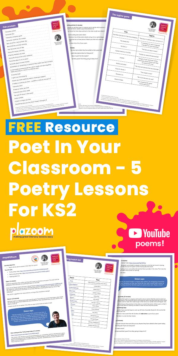 Poet In Your Classroom - 5 Poetry Lessons For KS2 | Poetry ...